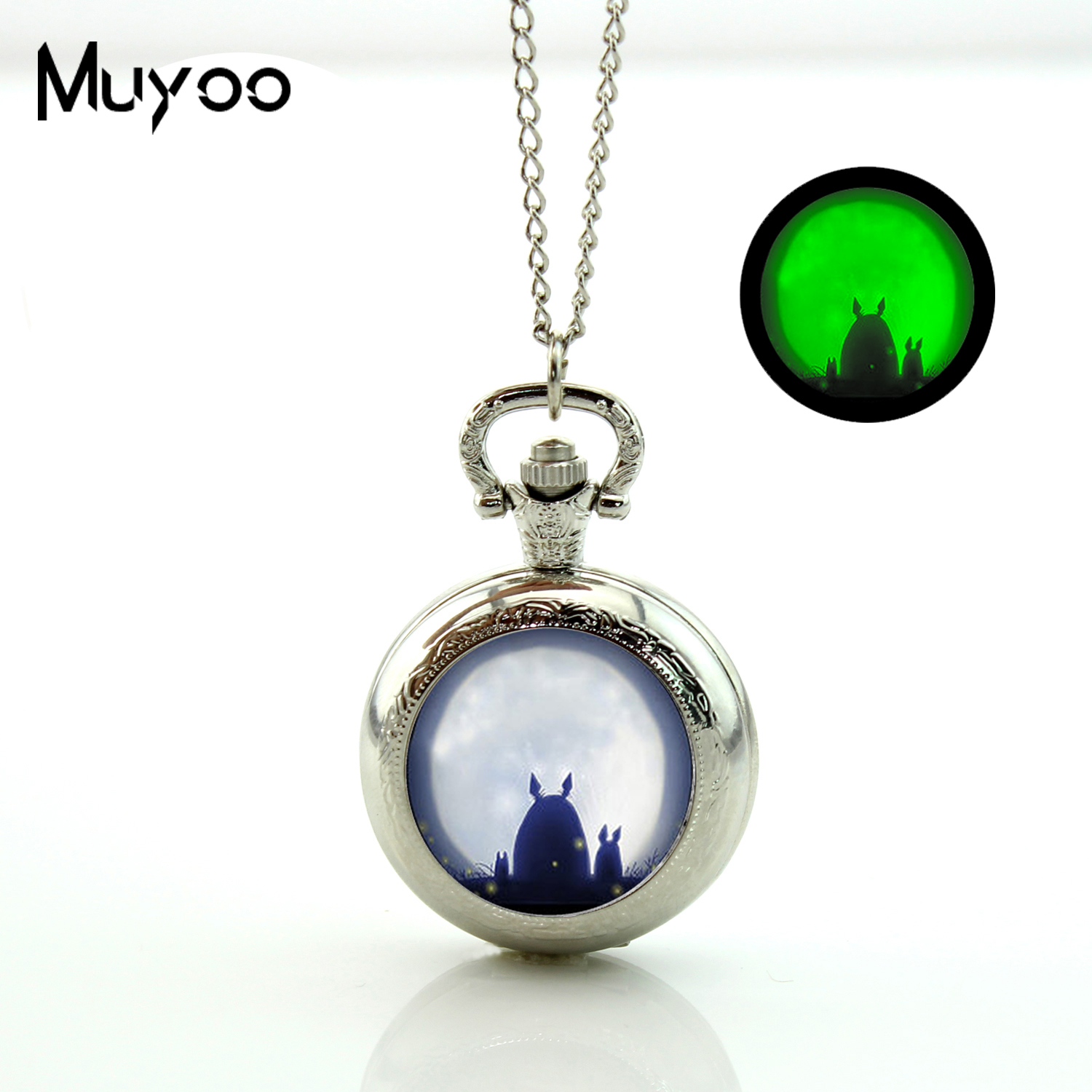 2017 New My Neighbor Totoro Pocket watch Pendant Necklace Japanese Anime Satsuki and Mei Glowing in the Dark Jewelry Gifts