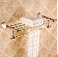 Wall Mounted Antique Brass Towel Shelf Single Lever Towel Hanger Flower Ceramic