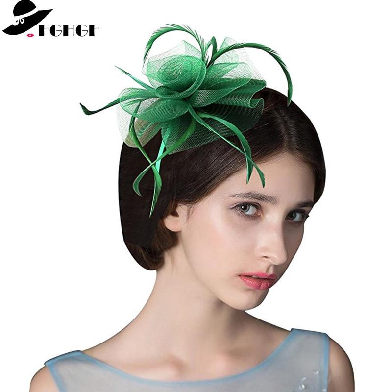 FGHGF Women Feather Flower Fascinator Hat Hair Clip Brooch Wedding Tea Party  Headpiece Kentucky Derby Church Headwear 12 Color 1321f3d3947