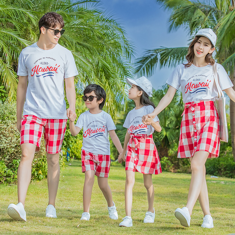 2019 Summer Family Matching Clothes Big Brother and Little Sister Clothing Mother Daughter Dress Dad Son Tracksuit Boys Shorts|Matching Family Outfits|Mother & Kids - title=