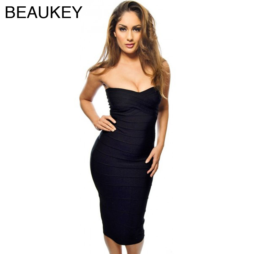 62676c88793 Midi Strapless Bodycon 2016 Knee Length Kim Kardashian Bandage Dress Red  White Black Rose Red Nude Green