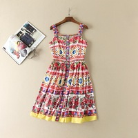 2017 New Spring And Summer Dress Couture Heavy Beaded Retro Print Spaghettri Strap Buckle Decoarted Dress