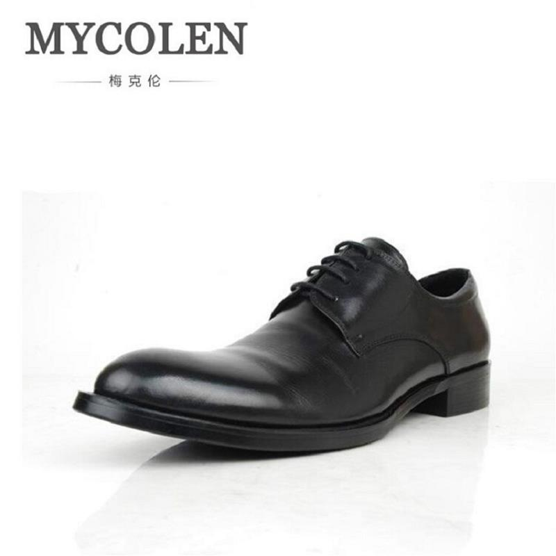 MYCOLEN Business Men's Dress Shoes Handmade Men Flats Men Genuine Leather Shoes Men Wedding Oxford Zapatillas Hombre Casual
