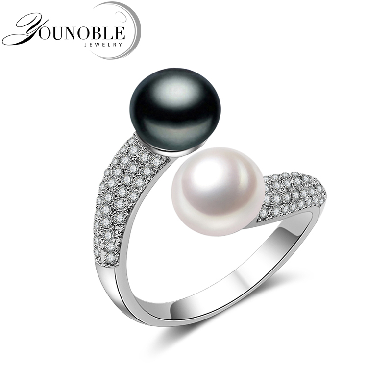 Real 925 Sterling Silver Double Pearl Rings Women, AAA Cubic Zircon Fashion Jewelry Vintage Wedding Rings Gift Black Adjustable ...