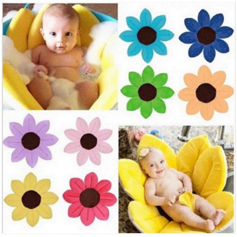 Baby Bathtub Newborn Foldable Flower Blooming Bath Tub Baby Anti-slip Blooming Sink Bath For Toddler Bath Sunflower Cushion Mats