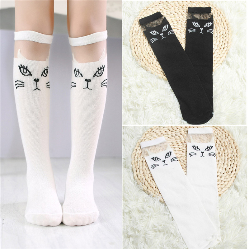 BalleenShiny Cute Cartoon Children Socks Lovely Cat For Baby Girls Children Knee High Socks Print Animal Long Over Knee Socks