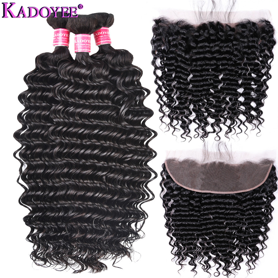 Malaysian Curly Hair Weave Bundles Deep Weave 3 Bundles With Frontal Closure Human Hair Closure With