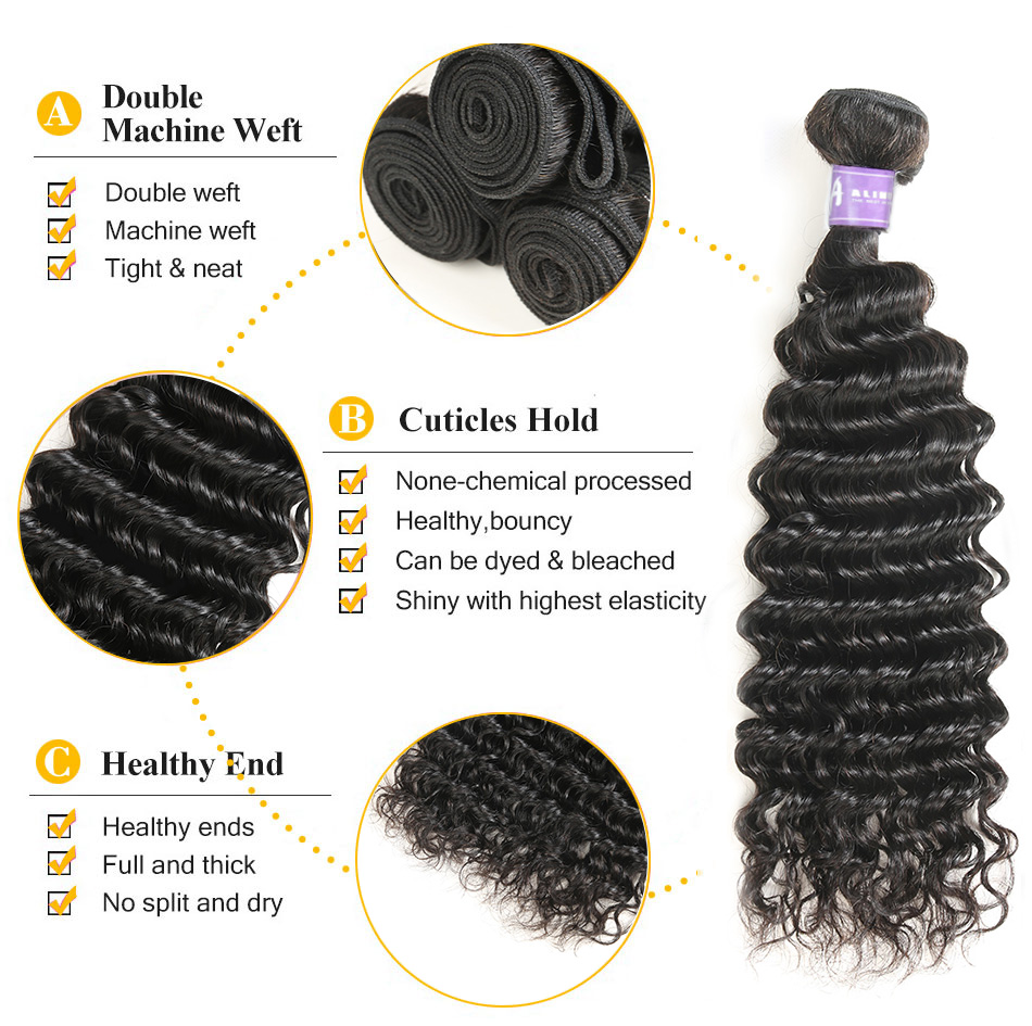 Brazilian Deep Wave Hair Weave 100% Human Hair Bundles With Closure - Mänskligt hår (svart) - Foto 4