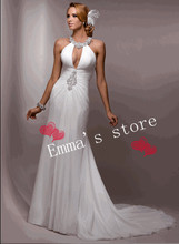 MORI-2013 Custom Made Free Shipping Fashion Off 5% Sexy Halter Mermaid Ruched Bodice Floor Length Applique Lace Wedding DressesB