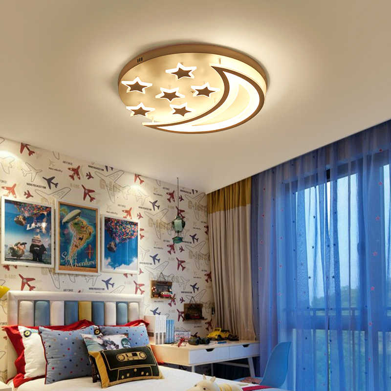 NEO Gleam Star and Moon Children Kids Room Bedroom Living Room Chandelier Home Deco Modern Led Ceiling Chandelier Fxitures