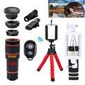 12x lente zoom telefoto lentes + trípode + gran angular macro ojo de pez 12in1 kit de lentes de cámara del teléfono celular teléfono iphone 6 s 7