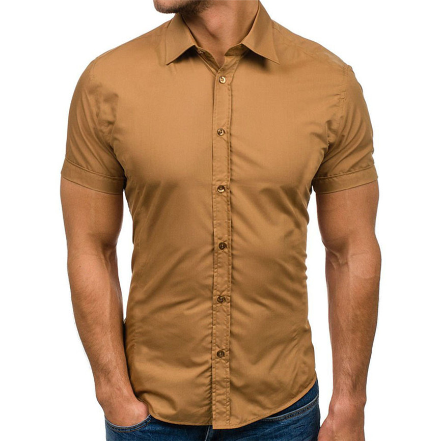 2019 Mens Shirt New Fashion Hot Summer Casual Men's New Style Pure Color Button Splicing Pattern Lapel Short Sleeve Shirt 40