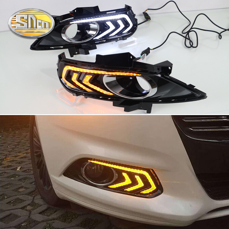 For Ford Mondeo Fusion 2013 2014 2015 2016,With Turning Yellow Signal Relay Waterproof Car DRL LED Daytime Running Light SNCN eonstime 2pcs 12v car drl led daytime running light fog lights for ford mondeo fusion 2013 2014 2015 2016 car styling