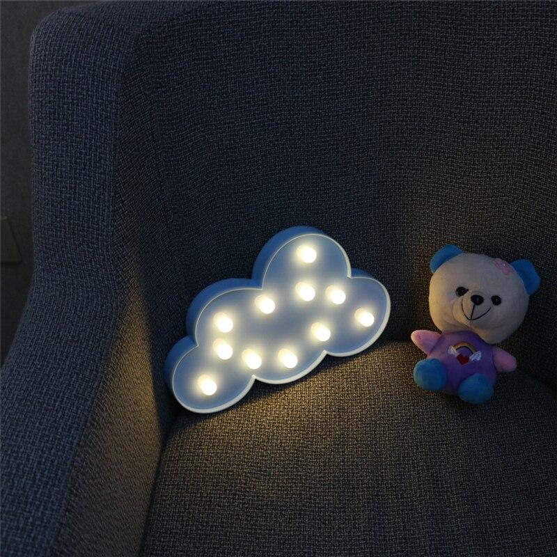 Yenilik 11 LED Beyaz Mavi Bulut Mektup 3D Marquee Gece Lambası Noel - Gece Lambası - Fotoğraf 6
