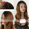 Fashion Synthetic Lace Front Wig Ombre Black Brown Color 4T27# Hair Glueless Wig Heat Resistant Body Wave Wigs for Black Women