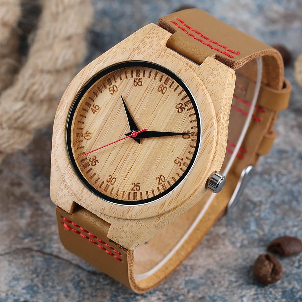 Bamboo Wooden Watch Casual Sport Wrist Watch Mens Nature Minimalist Creative Genuine Leather Band Strap relogio masculino casual nature wood bamboo genuine leather band wrist watch sport novel creative men women analog watches gifts relogio masculino