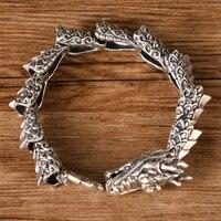 Чистый 925 Серебряный Дракон высокой пробы браслет Для мужчин Винтаж Punk Rock Байкер Для мужчин s доминирующие браслеты тайский серебро 925 Роско