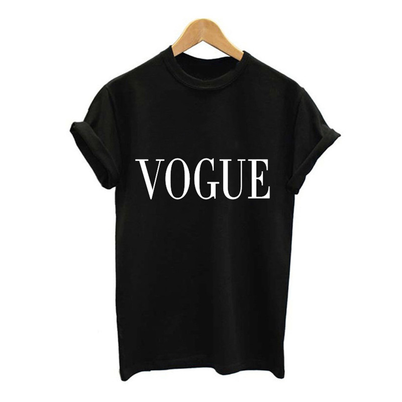 Showtly VOGUE Letter Print Women 39 s Tee Tops hOT Summer T Shirt simple Casual Super Soft O Neck Short Sleeve in T Shirts from Women 39 s Clothing