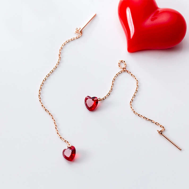 MloveAcc Genuine 925 Sterling Silver Red Heart Drop Earrings for Women Long Chain Heart Earrings Drop Sterling Silver Jewelry