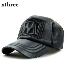 xthree New fall winter fashion high quality  faux leather baseball cap snapback hat for men women casual hat wholesale