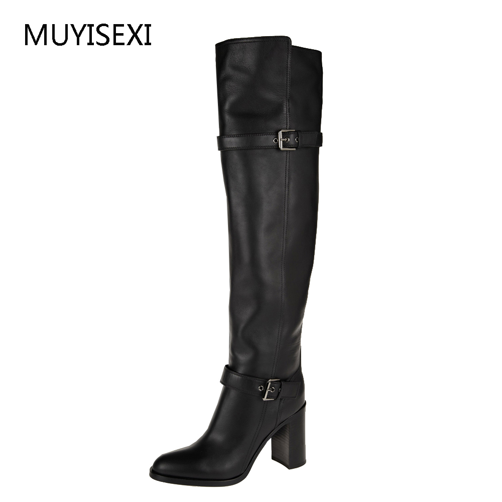 Over the Knee Boots Black Genuine Leather+PU Thigh High Boots Womens Winter Knee High Boots plus size 34-43 BH04 MUYISEXI недорго, оригинальная цена