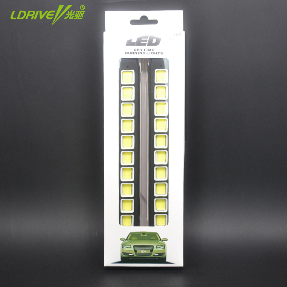 2PCs/lot car styling AUTO 10 LED DRL Flexible Daylight Car Daytime Running lights 12V Fog Driving Lamp COB Car Fog Light 1 pair 12 led strip flexible snake style eagle eye car drl daytime running light driving daylight safety day fog lamp