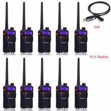 10pcs Retevis RT 5R Walkie Talkie 128CH UHF+VHF HF Transceiver Portable Radio Set Handy cb Radio Comunicador A7105A
