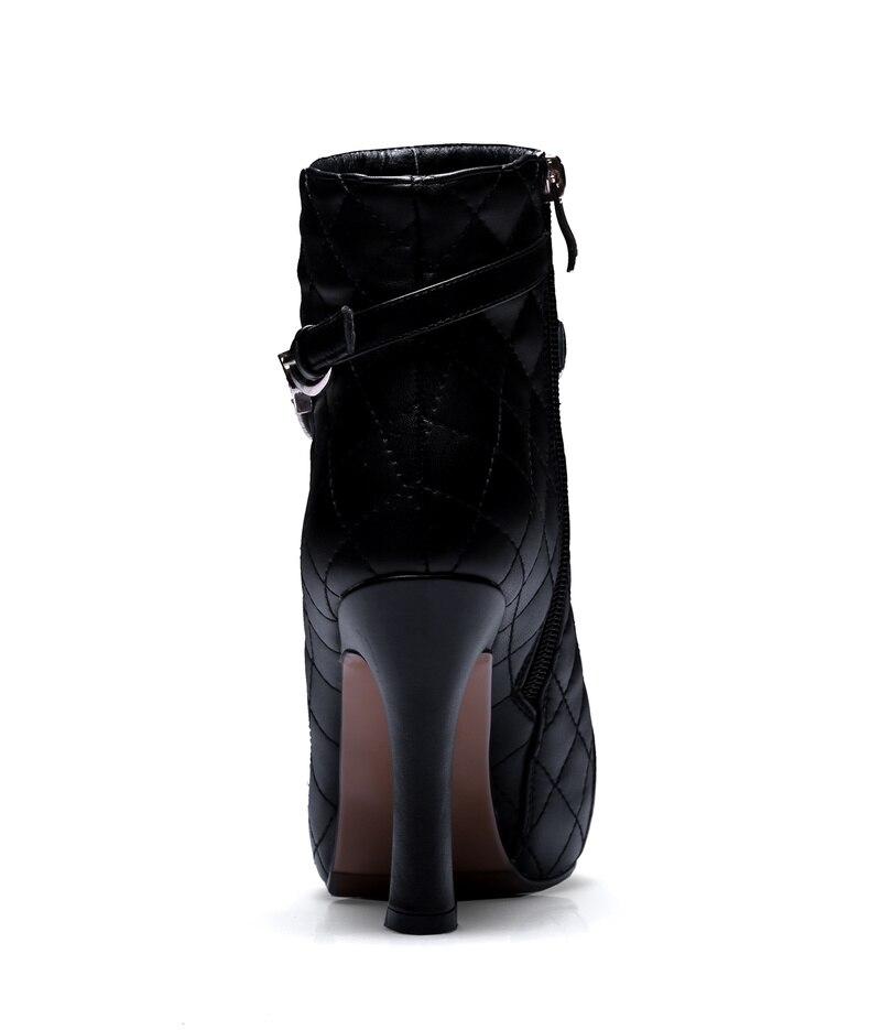 Bottes Talons Véritable Haute Sexy Taille D'hiver Noir Courtes En De Automne Salu Grand Nouveau Dames Zip Cuir Cheville blanc Femmes Chaussures qtznxd8E
