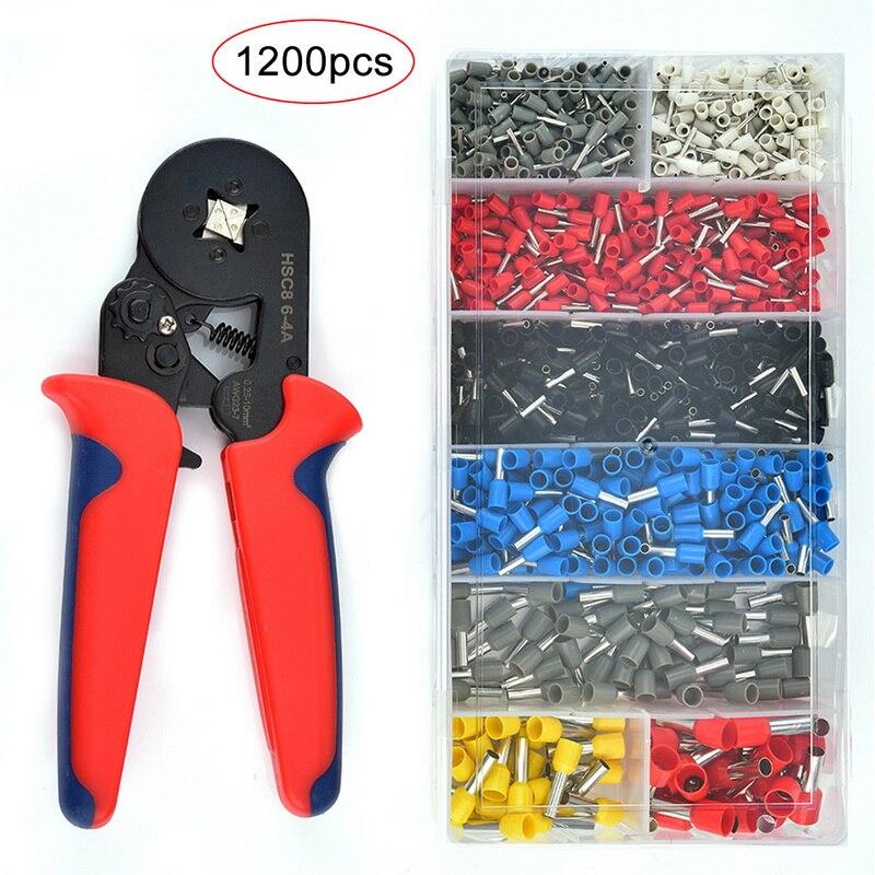 1200pcs Wire Terminal Connector Set w Ferrule Crimper Crimping Plier Tool Kit