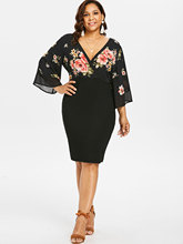 Floral Bell Sleeve Plus Size Bodycon Dress for Women