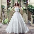 Elegant Querida Lace vestido de noiva vestido de noiva 2017 Vestidos de Casamento baratos com Rendas Até Arco Frisado vestidos de noiva boho