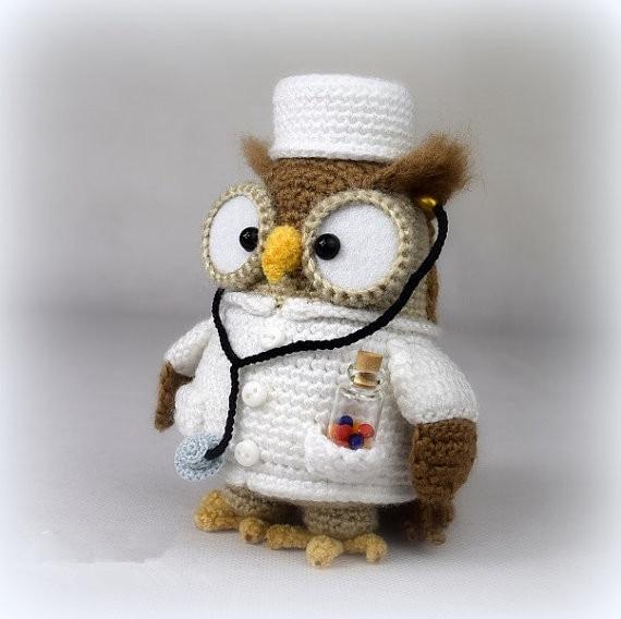 Doctorette The Owl - Amigurumi Crochet Baby Rattle Doll Crochet Toy
