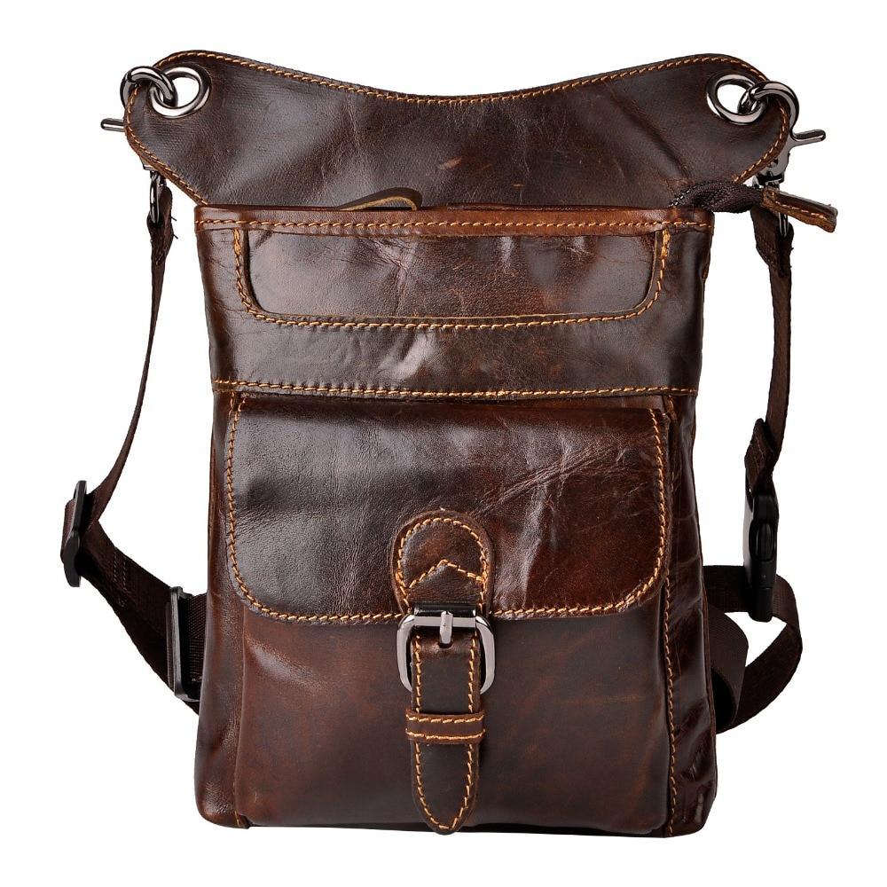 Genuine Leather Design Multifunction Men Shoulder Messenger Bag Fashion Heavy Duty Belt Waist Pack Leg Bag Tablets Pouch 913-5db Fine Jewelry