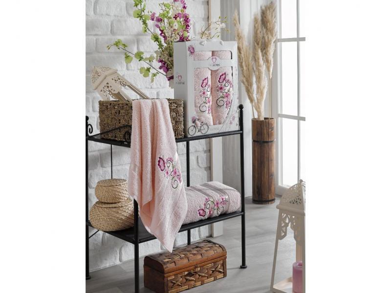 Towel set TWO DOLPHINS, Isabella, 2 subject, light pink two tone handle eye brush set 3pcs