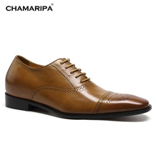 CHAMARIPA Increase Height 7cm/2.76 inch Brown Leather Elevator Shoes Men Dress Shoes Hidden High Heel Men Wedding Shoes