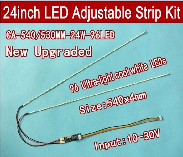 Free shipping 20pcs 24 540mm Adjustable brightness led backlight strip kit Update 24inch wide LCD CCFL