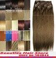 Envío gratis 12 unids conjunto gruesa 100% suave clips indian remy en/en extensiones del pelo humano #4 medium marrón 300gg
