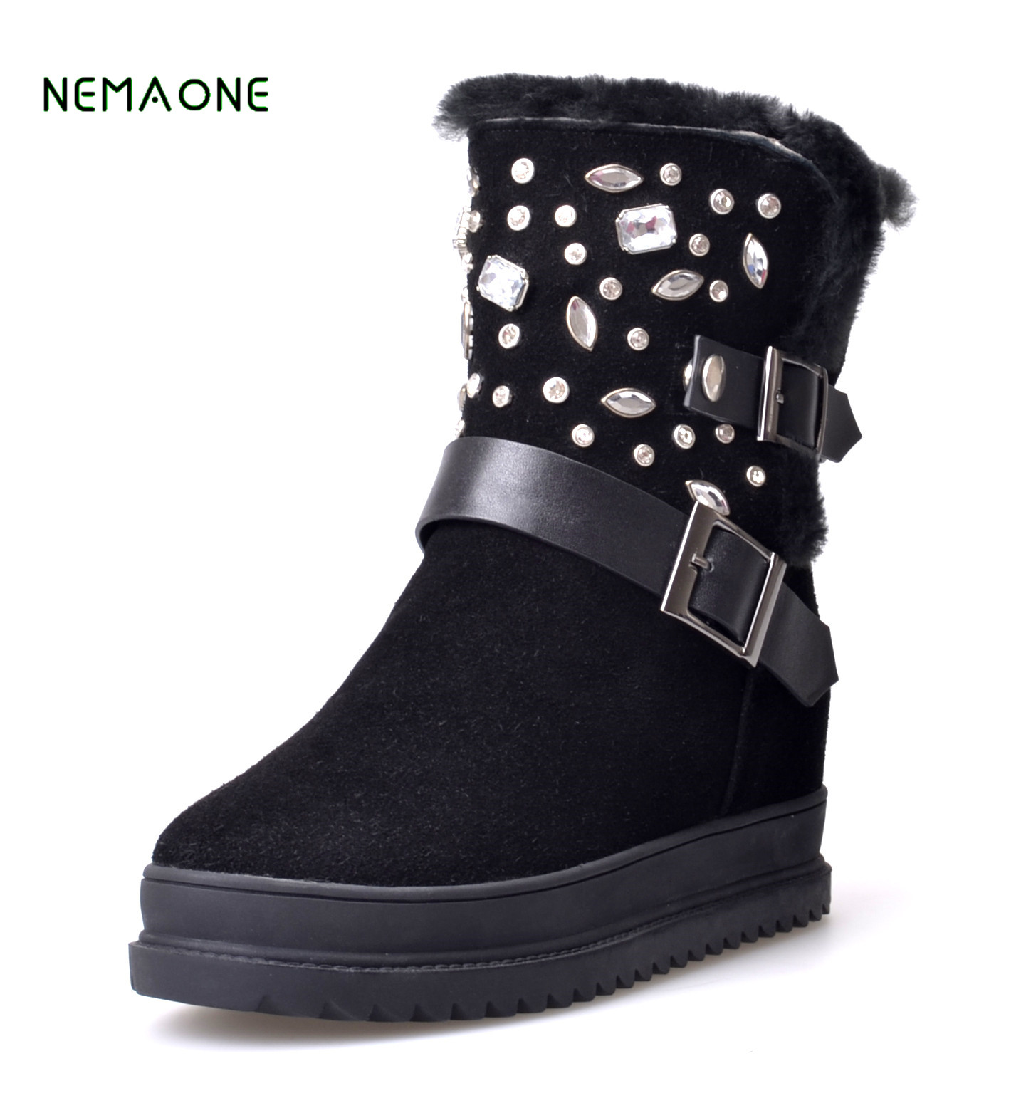NEMAONE Luxury Winter Australia Sheepskin Snow Boots Natural Wool Sheep Fur Boots Mid Calf Crystal Button Flat Women Fur Boots quality assurance sheep fur snow boots female warm winter flat bandage calf height boots large size free shipping
