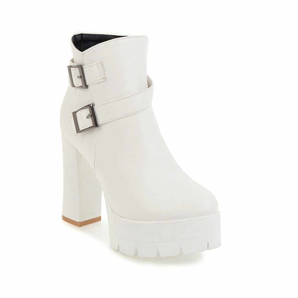 2018 phụ nữ Mới giày dày cao gót nền tảng khởi động người phụ nữ khóa phụ nữ khởi động đen trắng vàng nâu khởi động mùa đông