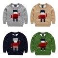 Детская одежда 2015 осень и зима мальчик свитер Двойной Слой Тонкой шерсти вязаный свитер мультфильм робот pattern пуловеры