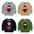 Children's clothing 2015 fall and winter boy sweater Double Layer Fine wool knitted sweater cartoon robot pattern pullovers