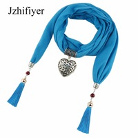 Jzhifiyer Jersey Pendant Love Jewelry Scarf Necklace Shawl Cotton Linen Tassel Bead Jewellery Bandana Scarf Fashion
