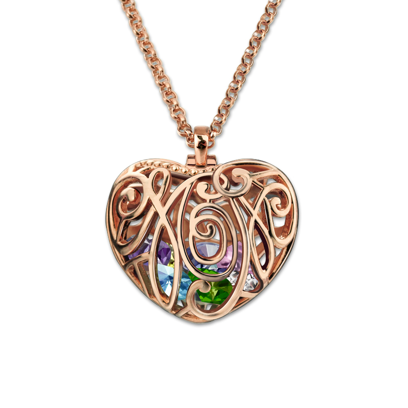 AILIN Personalized Family Necklace Rose Gold Color Heart Cage Pendant With Birthstones Mothers Heart Love Jewelry семена rose heart 988