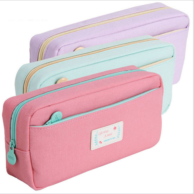 High Quality Canvas Pencil Case Stationery Size School Bag For Students Cosmetic