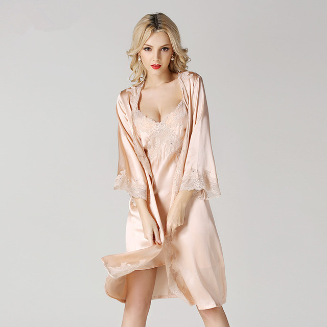 Sling female summer silk nightgown sexy silk pajamas female temptation to lace nightgown tracksuit
