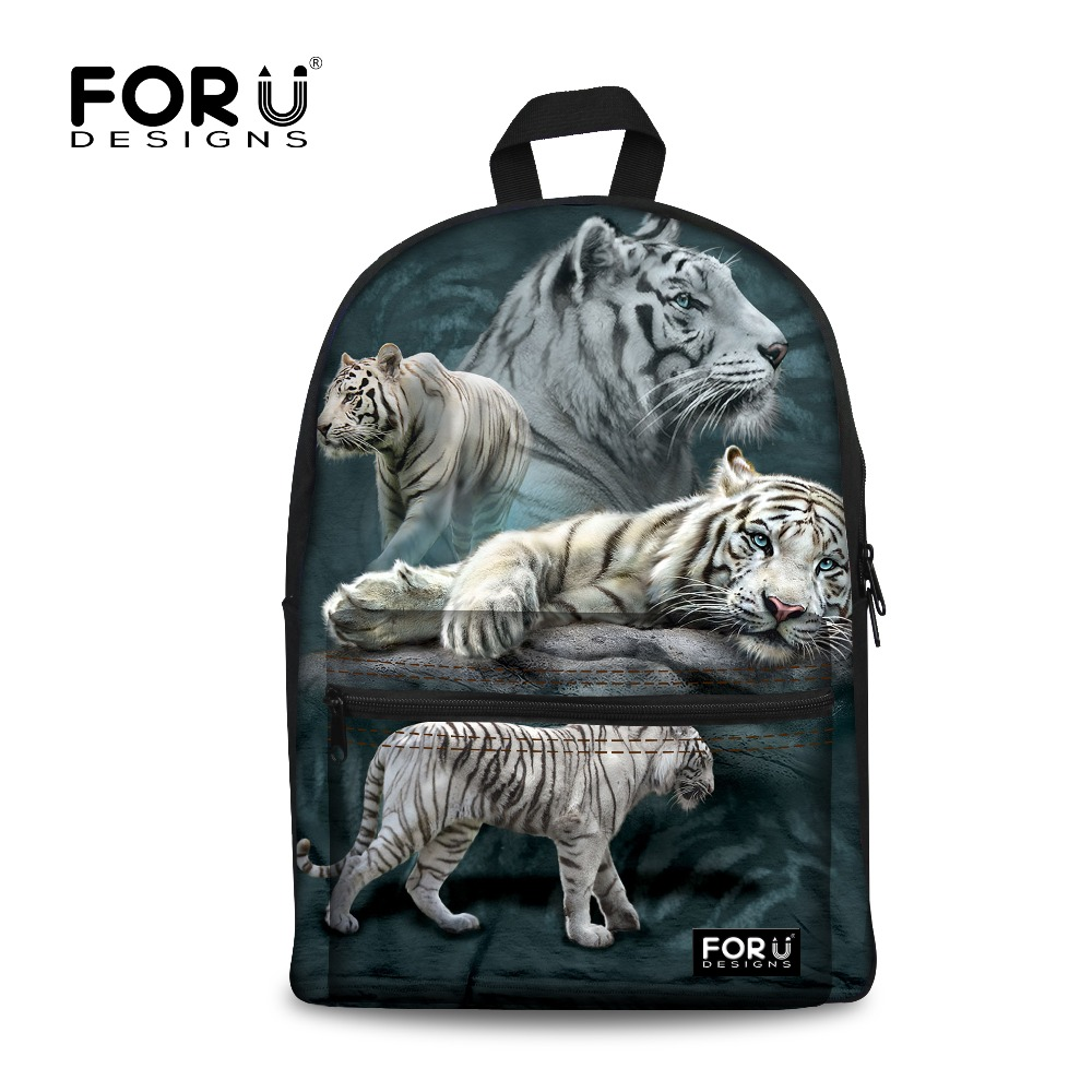 White Tiger printing Backpack Children School Bags For Teenagers Boys Bag Kids Backpacks Animal Prints Wolf Dinosaur Mochila Bag