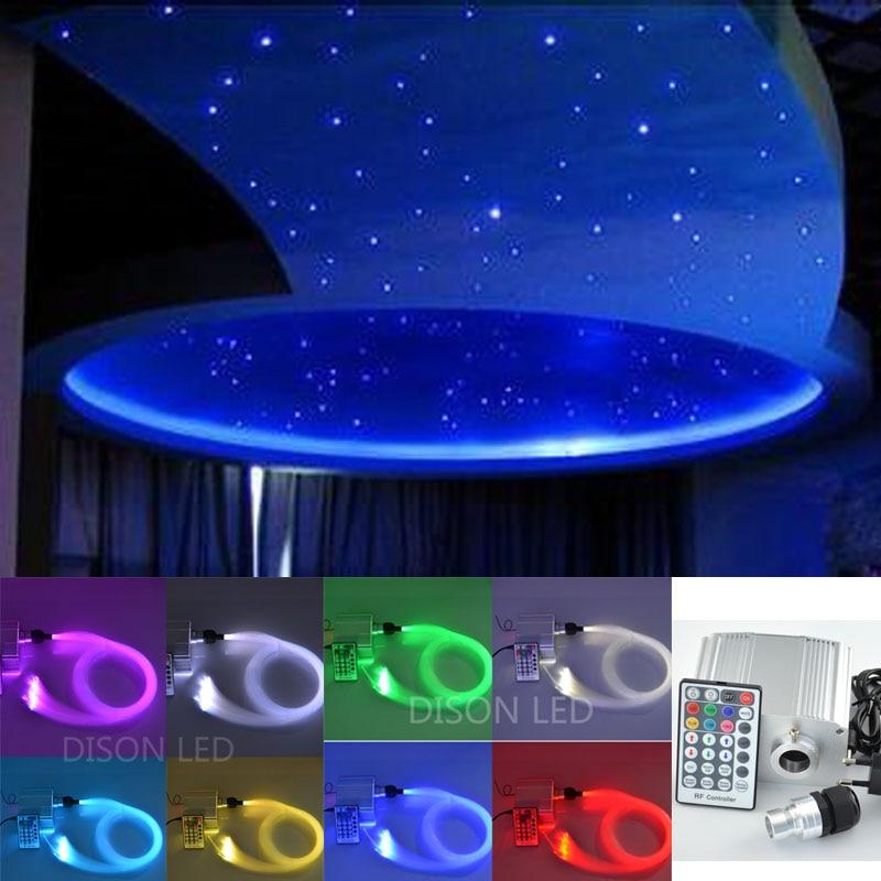 New 10W Twinkle RGBW LED Fiber optic star ceiling lights kit 0.75mm 100pcs*2m+1.5mm 20*2m optical fiber light engine RF remote diy optic fiber light kit led light 100x1mm 2m optical fibre color change twinkle star ceiling light 20w rf remote