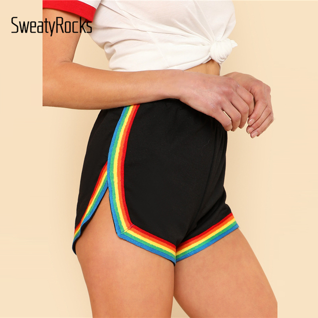 1297ab2e24 SweatyRocks Rainbow Tape Trim Dolphin Shorts Ladies Black Mid Waist Striped  Casual Shorts 2017 Fall Elastic