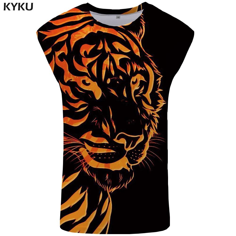 KYKU Brand Tiger Tank Top Men Flame Stringer Animal Mens Bodybuilding Print Singlet Vest Ftness Clothing Sleeveless Shirt
