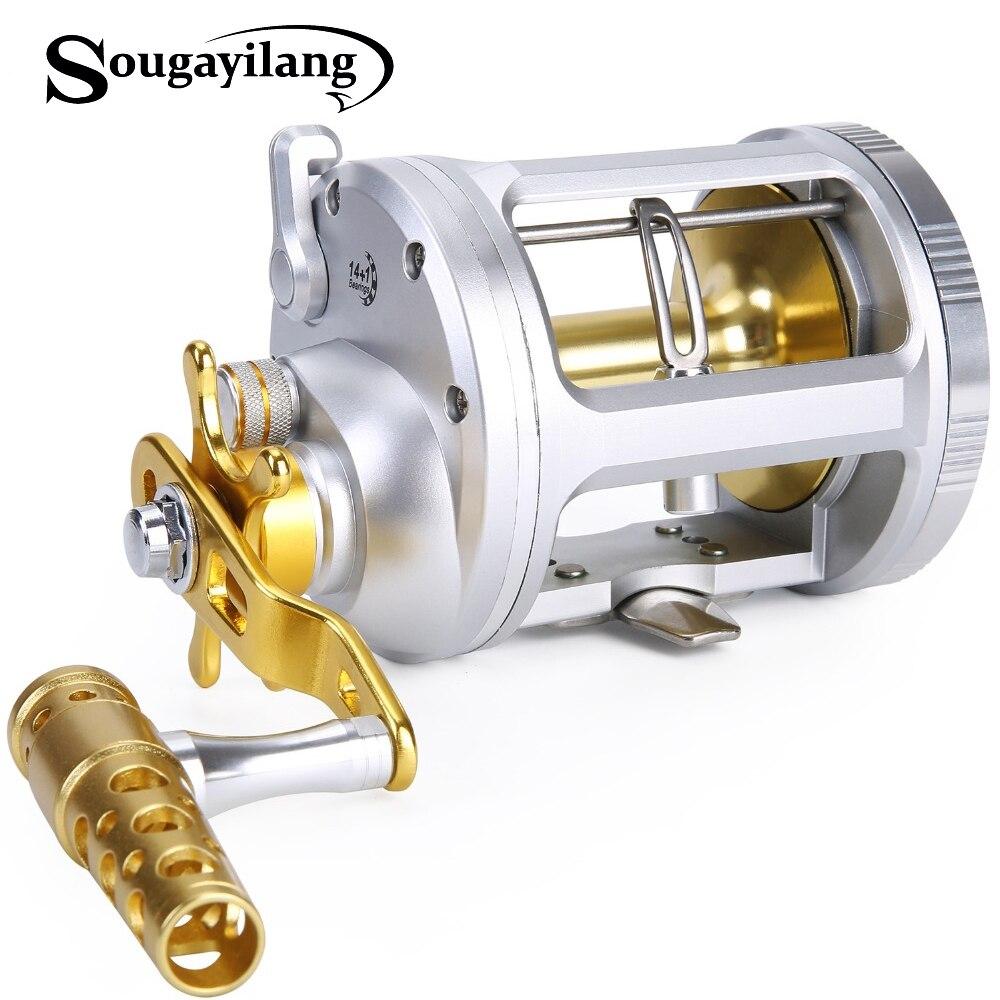 Sougayilang moulinet de pêche à la traîne moulinet de pêche à la main droite 15 roulements à billes moulinets d'eau salée pêche de coulée